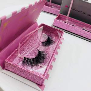 Premium Custom Logo 3d Mink Lashes Wholesale Private Label Custom Pink Glitter Boxes Eyelashes Packaging Storage Box