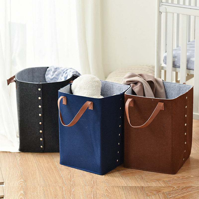 Eco-friendly Large Felt Fabric Dirty Clothes Laundry Storage Organizer Basket bag