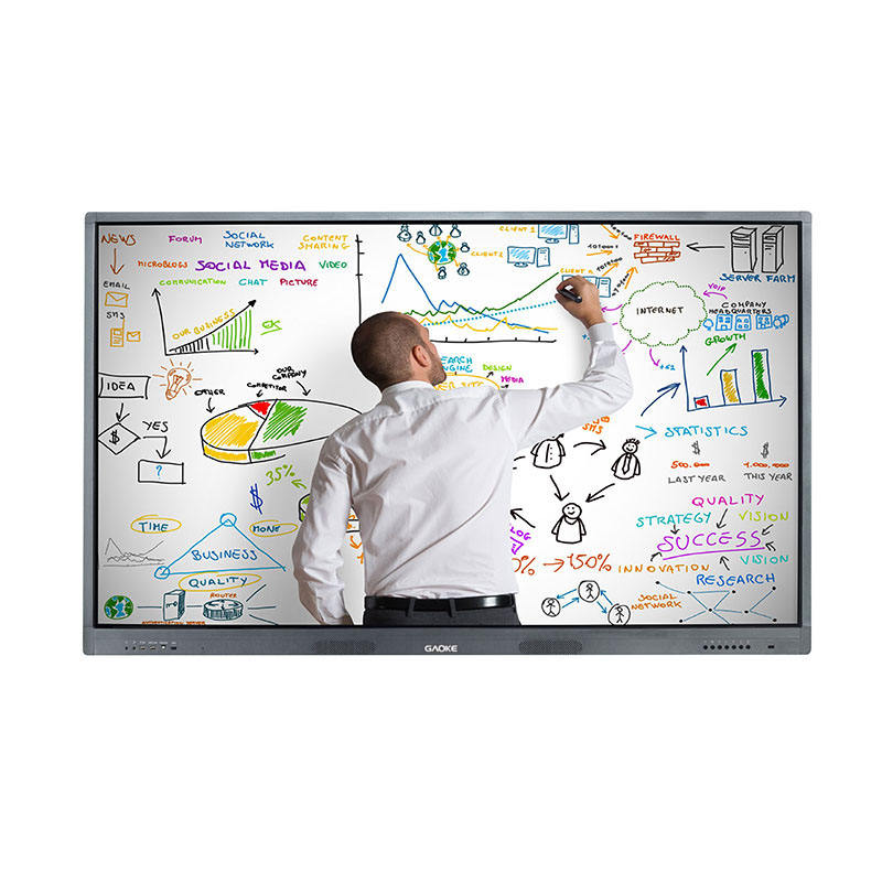 GK-880T 75 inch built-in android LCD LED interactive smart touch board with mobile stand digital boards for office and school