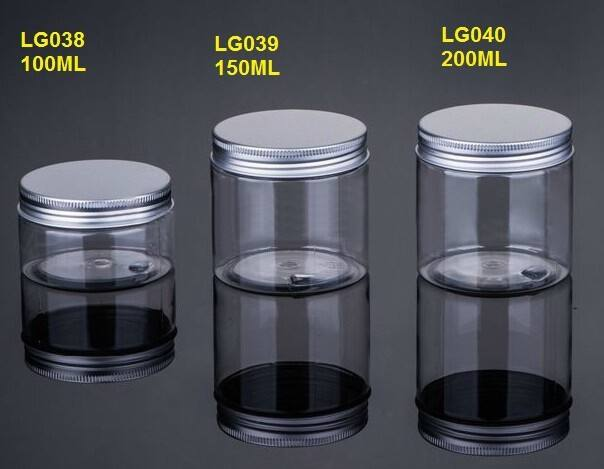 100ML/150ML/200ML Clear Bottom Aluminum Metal Cap Amber Empty Cream Jar ,Plastic Cosmetic Jar