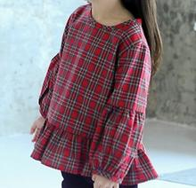 Check balloon blouse