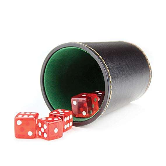 Felt-Lined Synthetic Leather Dice Cup Playing Games