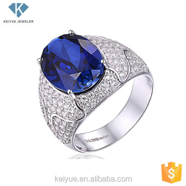 Men natural blue sapphire precious stone rings with cz,oval jewel cut blue stone ring