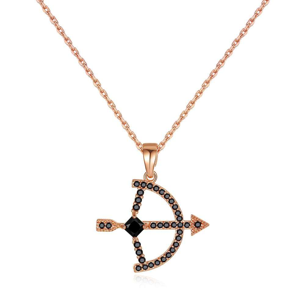 LUOTEEMI Dainty Arrow Pendant Necklace for Girls Cubic Zirconia Double Gold Plated Necklaces