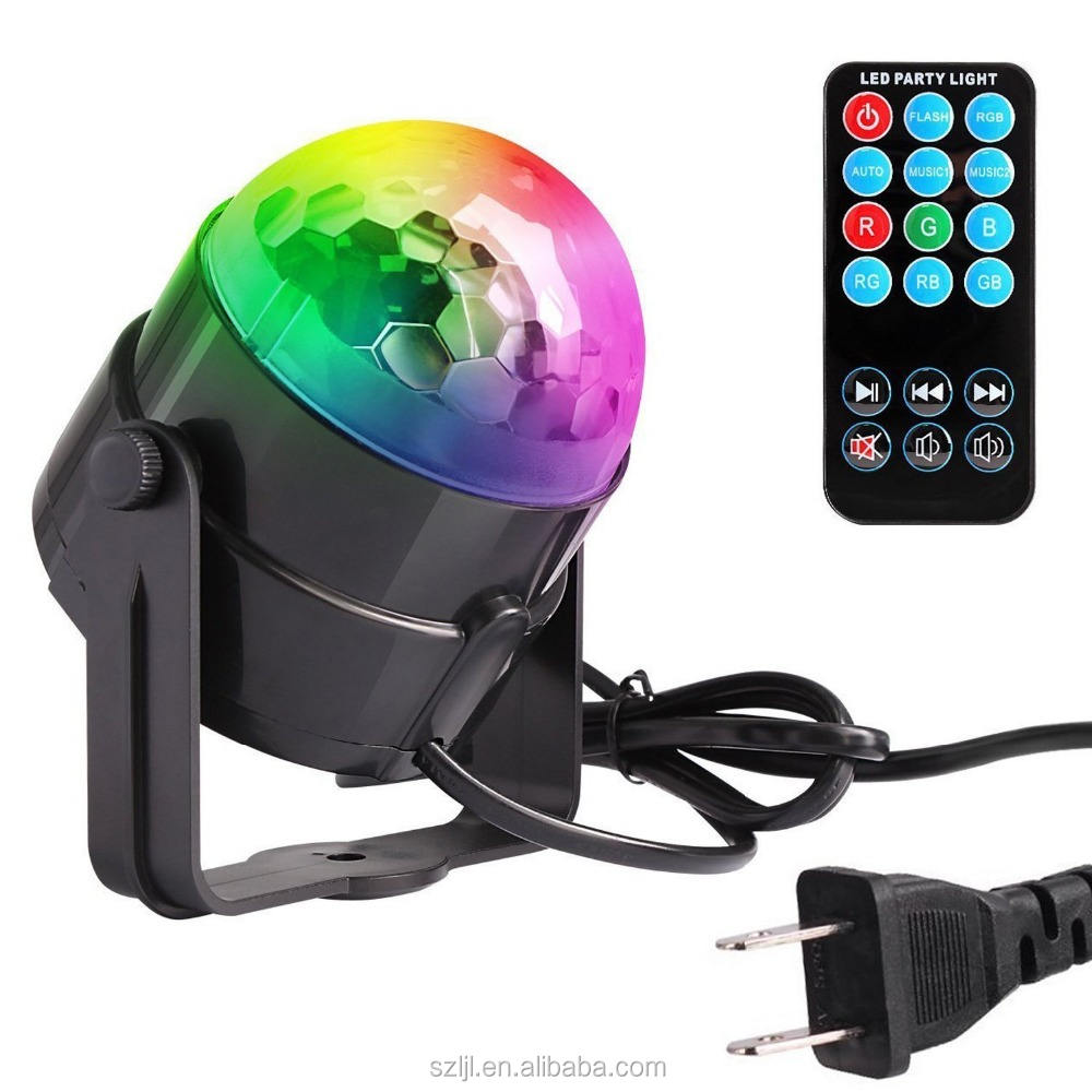 Mini Sound Activated Disco Ball Lights 3W RGB LED Strobe Light and Glitter Ball for Home Party KTV Xmas Bar Club Pub with Remote