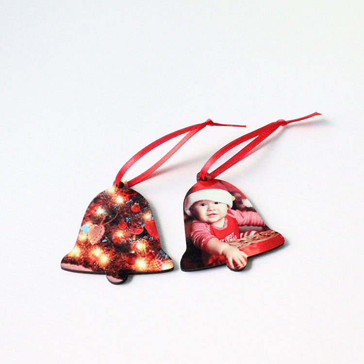 Ready to ship Fabsub Small bell shape sublimation blanks MDF wooden ornaments Personalized Christmas tree hanging decoration