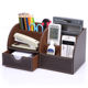 Office Desk Accessories Brown Multifunctional Leather Pen Pencil Holder