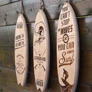 Decorative wooden surfboard wall art sign