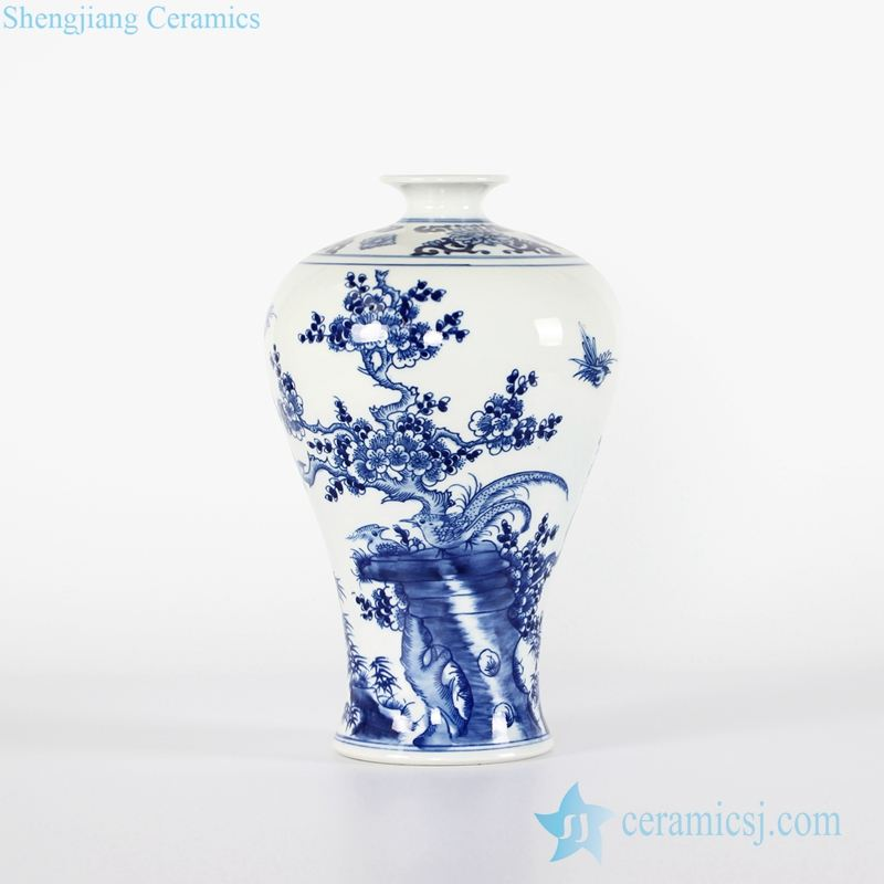 RYCI42-A B Jingdezhen wholesale price blue and white relief lotus porcelain Meiping vase