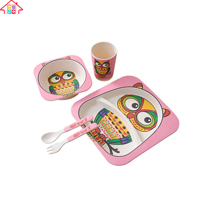 RSC 5-Piece Durable Bamboo Fiber Kids Dinner Set/Tableware/Baby Feeding Set