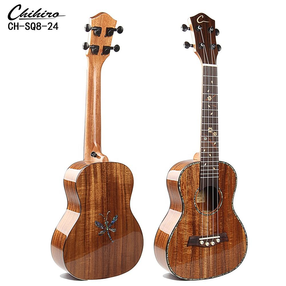 Concert all KOA solid ukulele with colorful shell inlay design back