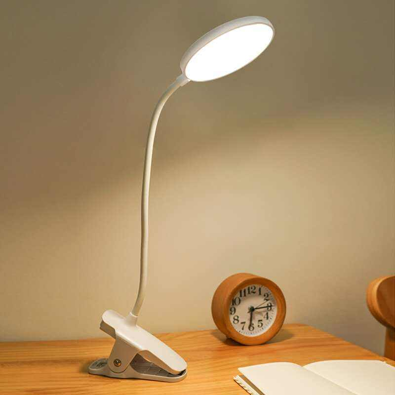 Flexible gooseneck table clip lamp reading light desk with brightness adjustable