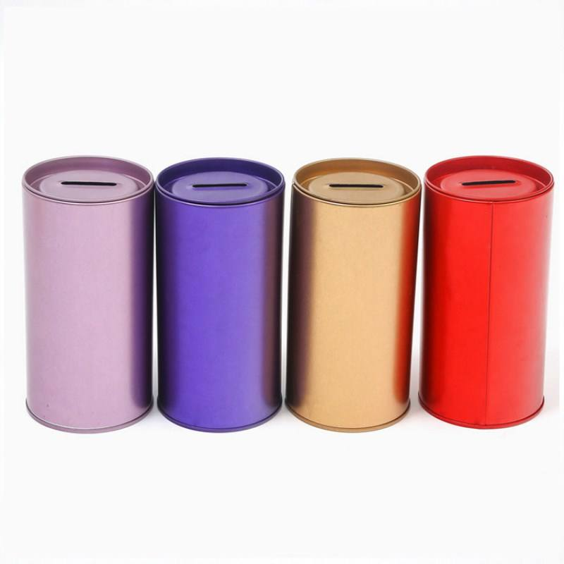 Promotion high quality blank small tin can coin bank colorful metal money saving box