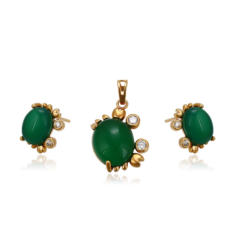 64136 Xuping noble oval jade opal stud earrings refined gold jewelry set proving free sample