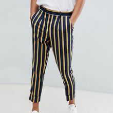 custom striped straight leg slim fit pants men