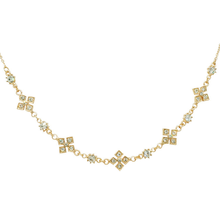 Crystal gold lucky four-leaf clover chain best friends gift costume jewelry necklace for elegant ladies