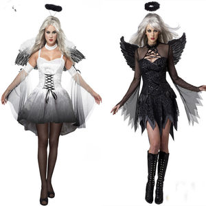 Dropship Halloween Cosplay Angle Dress Black and White Vampire Costume Dress