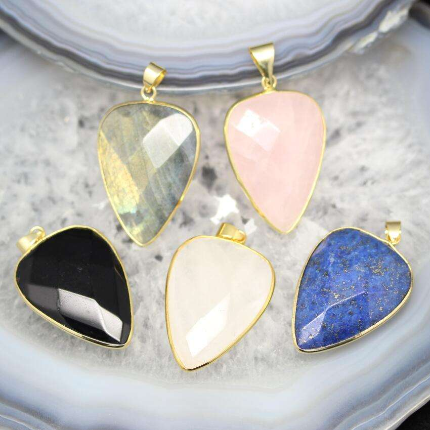 Faceted Cabochon Teardrop Pendant with Lapis Rose Quartz Labradorite Onyx Jade Stone Jewelry
