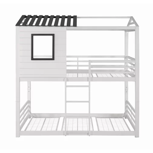 New Design Solid Pine White Wooden House Frame Loft Bunk Bed Kids Bunk Bed With Ladder