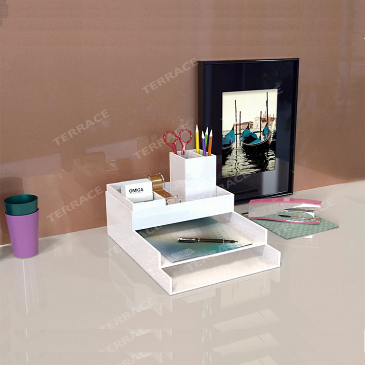 Acryl Bureau Organizer/Lucite Home/Office Bestand/LetterTray/Pen Box/Naam Kaarthouder