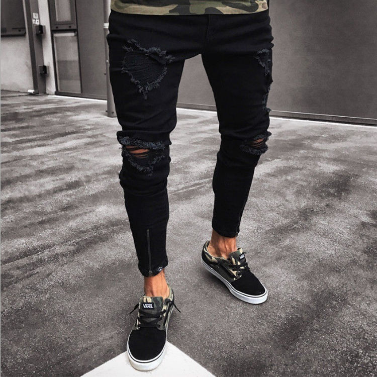 biker jeans men's black holes elastic zippers men's trousers skinny Europe and the United States tight pants