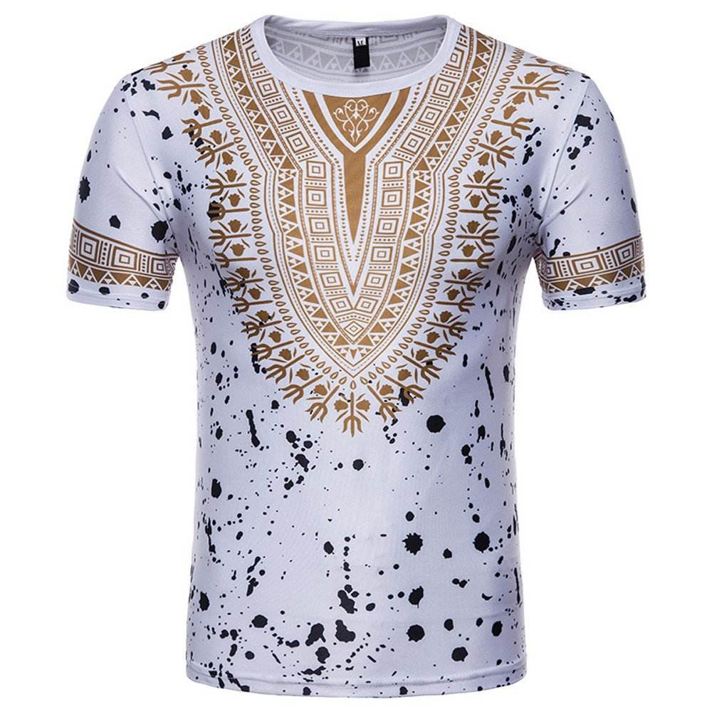 Mens Summer Fashion Casual Short Sleeve Blouse, Mens African Print O Neck/Standing Collar Printing T-Shirt Top