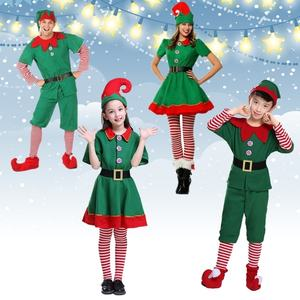 Christmas Elves Costumes Women Christmas Halloween Costume Long Sleeve Green and Red Girl Elf Dress Christmas Costume