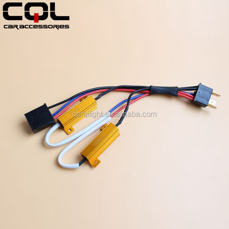 CQL 50W H4 LED canceller harness Double Resistor Load Resistor Error Free Wiring Canceller for LED Car Headlight