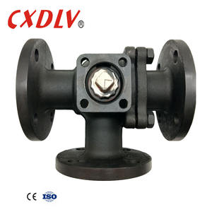 high quality low cost worm gear operated three way L type ball valve