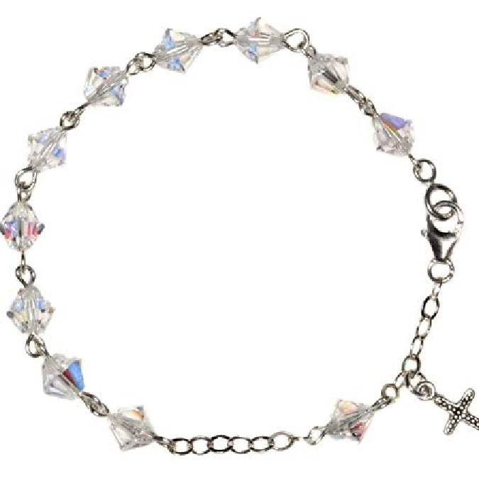 Bracelet made with Clear AB Crystal elements - April (Communion & more)