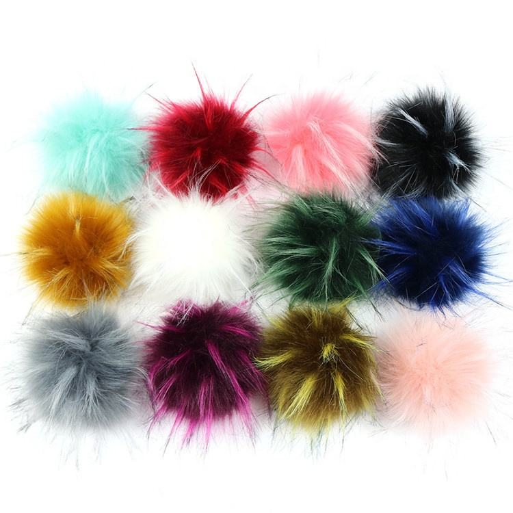 large size faux raccoon fur pompoms for beanie hat hairy fake fur pom poms