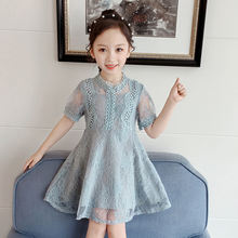 Girls Dress Summer Korean Children's Skirt Little Girl Foreign Lace Short Sleeve Princess Dress
