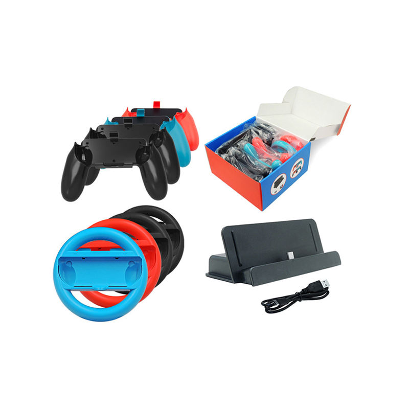 10 in 1 Game Accessories Kit Racing Steering Wheel Handle Hand Grip USB Cable Charger Charging Dock Station for Nintendo Switch