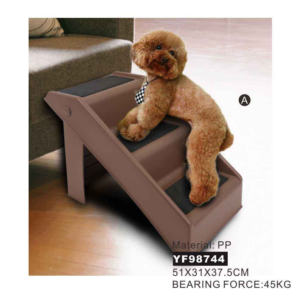 Eco-Friendly Portable Pet Furniture Lightweight Small Three Step Pet Stairs Folding, Durable Safety Plastic 3 Step Dog Stairs