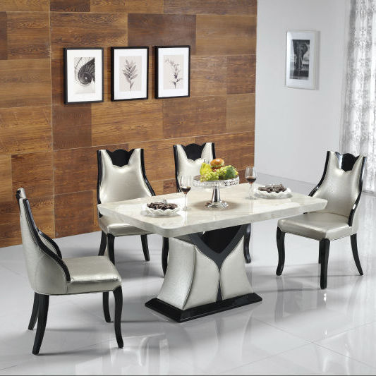 silver soft bag stone marble solid wood frame with mdf base walnut hotel home furniture dining set