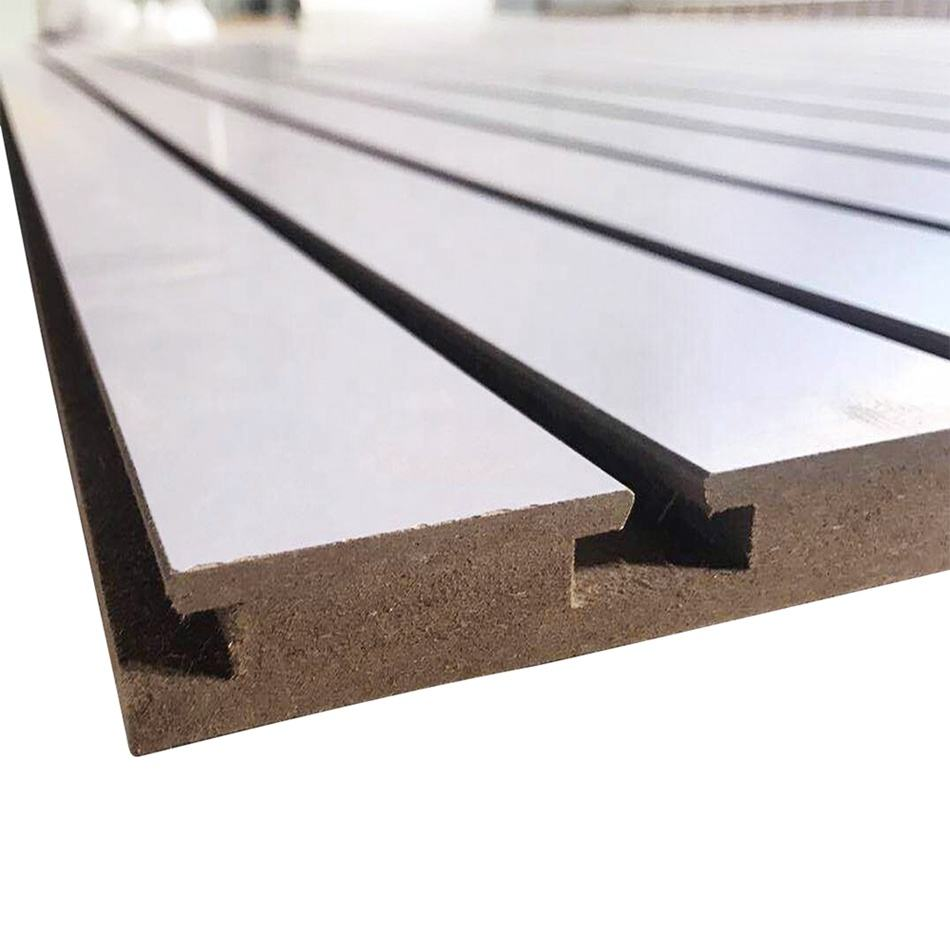 2.5mm Slot 15MM 17MM Wholesale Mdf Slatwall Panel Melamine Slotwall Board