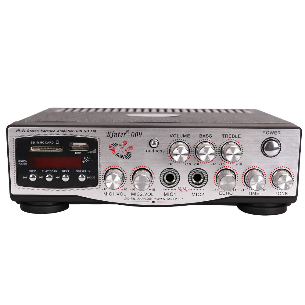 kinter-009 AC 220V sound amplifier audio power amplifiers with USB/SD/FM/MIC/digital display