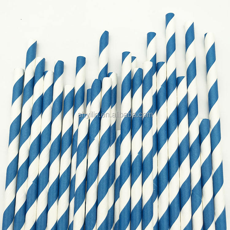 Amazon top seller Ready to ship blue stripe eco friendly straw drinking paper straw for juice /coffee