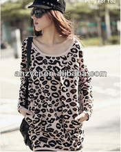 new woman clothes long sleeve fashion warm autumn/winter leopard loose casual dress