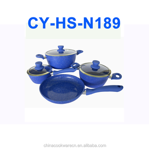 polished aluminium cookware set customized marble cooking pot sapphire coating houseware set