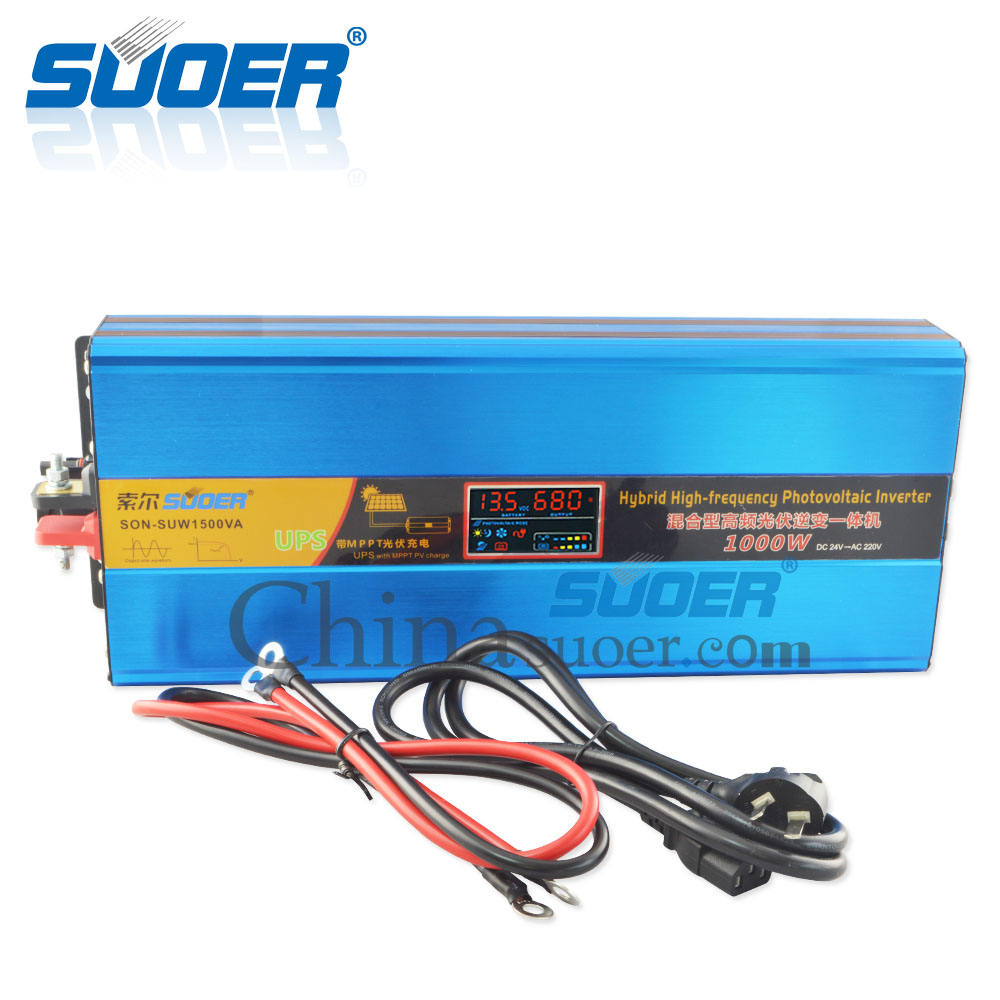 Suoer 24V 1000W Inverter 1KW UPS Sine Wave Hybrid Solar Power Inverter With LCD Display