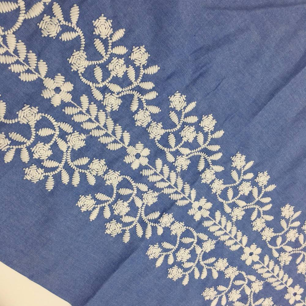 CRFJ01 Fashion royal blue jean lace fabric with milk ploy yarn embroidery fabric