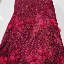 Hot Sale Luxury 3D Flower Mesh Embroidery Beaded African Lace Fabrics