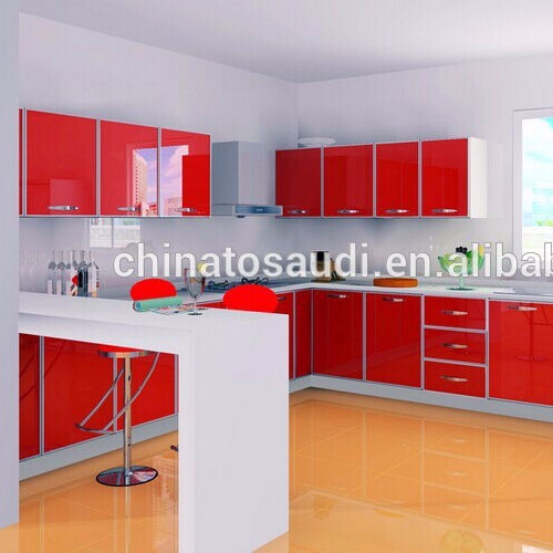 Red color high gloss kitchen cabinet doors/customized kitchen cabinet door designs
