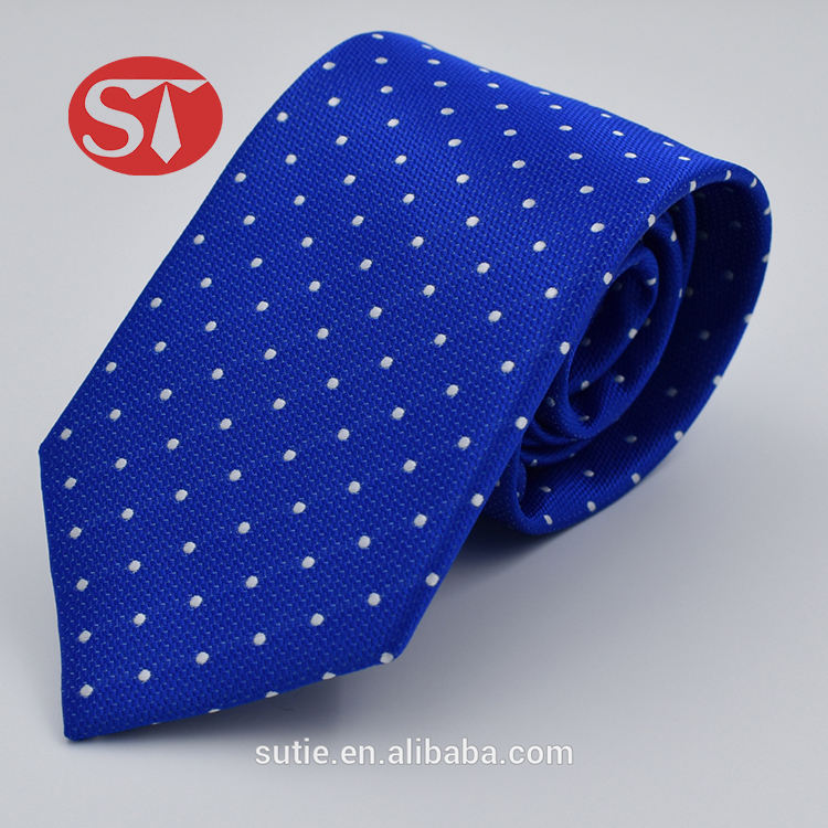 Hand made high quality polka dots micro fiber polyester jacquard woven neckties
