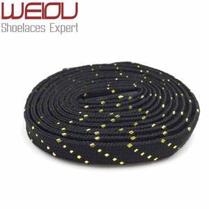 Official Weiou Fancy Glitter Black White Gold Shoe Laces Shiny Flat Unique Bootlaces Customized Metallic Shoelaces Sparkle Lacet