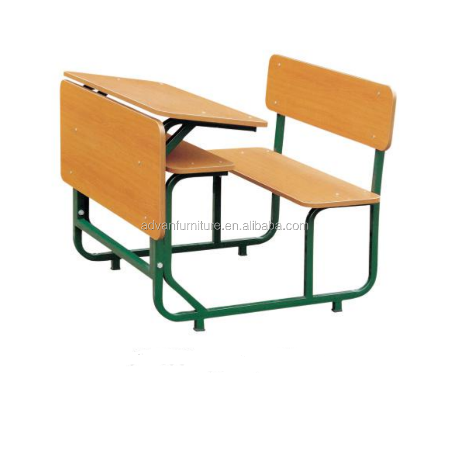 Foshan furniture , College student double person school furniture wooden double school bench seat,