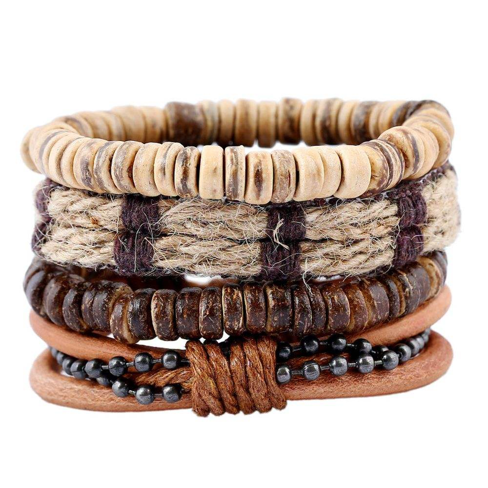 European American Punk Fashion Retro Hemp Woven Rope Wood Bead Bracelets Men's Coconut Shell Genuine Leather Bracelet Set