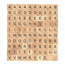 Wooden Alphabet Scrabble Tiles Black Letters & Numbers