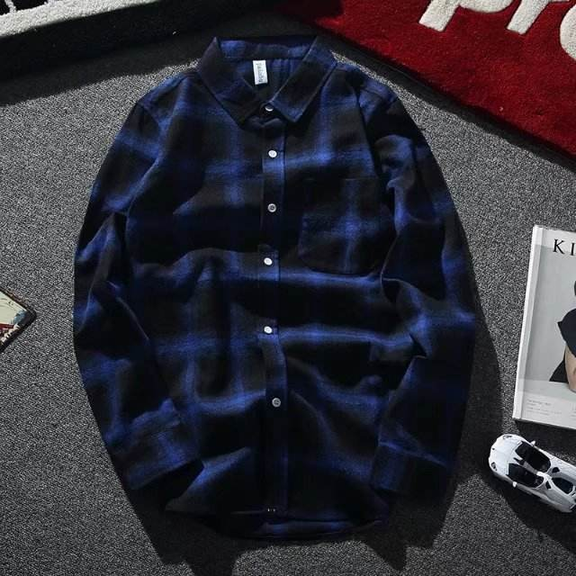 New style long sleeve plaid men casual shirt